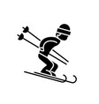 snow skiing black icon sign on isolated vector image vector image