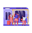 subway train interior with tourists with baggage vector image