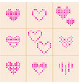 valentine day set of 9 hearts cross-stitch vector image