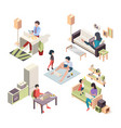 work at home isometric people working at laptop vector image
