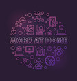 work at home round colored outline vector image