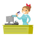 young caucasian white cashier holding credit card vector image vector image