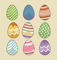 colorful easter eggs icons vector image