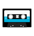 plastic audio tape cassette retro music icon vector image