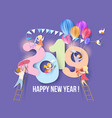 2019 happy new year design card with kids vector image vector image