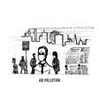 air pollution hand drawn sketch vector image vector image