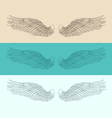 angel wings set engraved style vector image