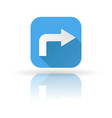 arrow icon blue sign with shadow and reflection vector image
