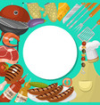barbeque picnic party banner meat steak roasted on vector image