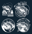 bass fishing emblem on black background vector image vector image