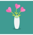 bouquet pink heart flowers in a vase flat vector image