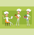 cartoon flat chef cook man character set vector image vector image