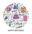 circle with birthday symbols in line style basic vector image vector image