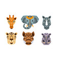 collection animal heads with tribal ethnic vector image vector image