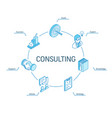 consulting isometric concept connected line 3d vector image vector image