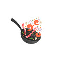cooking process flipping fry vector image vector image