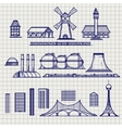 Country and city archetictural objects sketch vector image