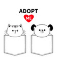 cute cat dog in pocket holding hands paws vector image vector image