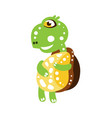 cute dancing green turtle character side view vector image vector image