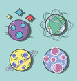 different planets with stars in the space galaxy vector image vector image