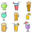 doodle of drink style various collection vector image vector image
