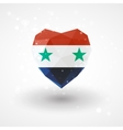 Flag of Syria in shape diamond glass heart vector image
