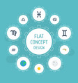flat icons horoscope fishes twins and other vector image vector image