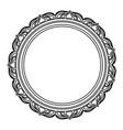 frame decoration circular emblem empty floral line vector image