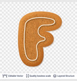 gingerbread letter f symbol with drop shadow vector image