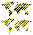 glossy World map of yellow and black stripes vector image