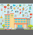 hospital healthcare and medical icons vector image