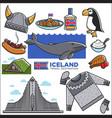 iceland travel tourism landmarks and reykjavik vector image