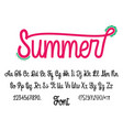 latin alphabet summer font handwriting with upper vector image