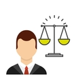 lawyer avatar with scale vector image vector image