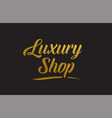 luxury shop gold word text typography vector image vector image