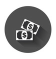 money flat icon coin with long shadow vector image vector image