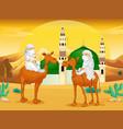 muslim men on camels in the desert vector image