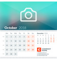 october 2018 calendar for 2018 year week starts vector image vector image