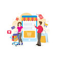 online shopping concept with characters vector image