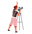 photographer photo camera and tripod isolated vector image vector image