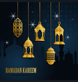 ramadan greeting card with golden islamic arabic vector image vector image