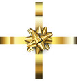 realistic golden bow decoration on white vector image vector image