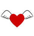red heart with wings for valentines day stock vector image vector image
