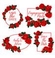 red rose flower frame of wedding invitation design vector image vector image
