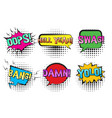 retro comic speech bubbles with swag yolo bang vector image