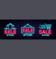 sale neon sign and discount concept set vector image vector image