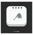 santa hat icon gray icon on notepad style vector image