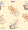 seamless pattern girls sunbathing on beach vector image vector image