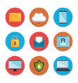 security system concept icons vector image vector image