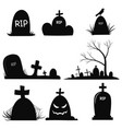 set gravestones collection black grave vector image vector image